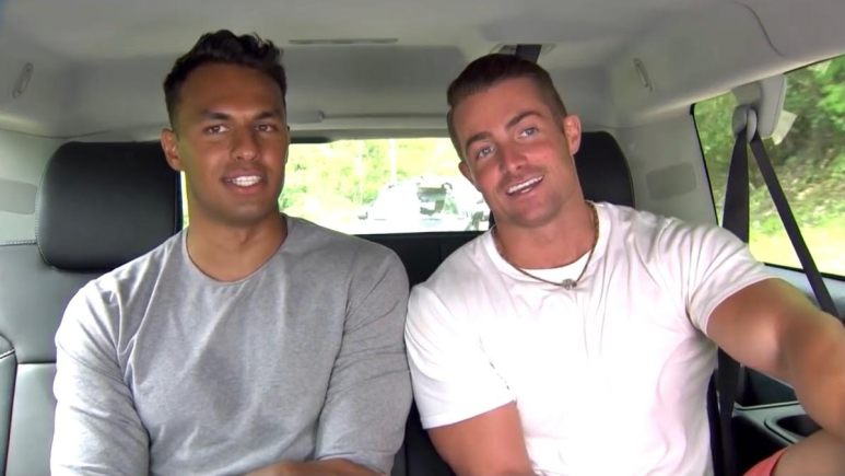 Aaron Clancy and James Bonsall in a car