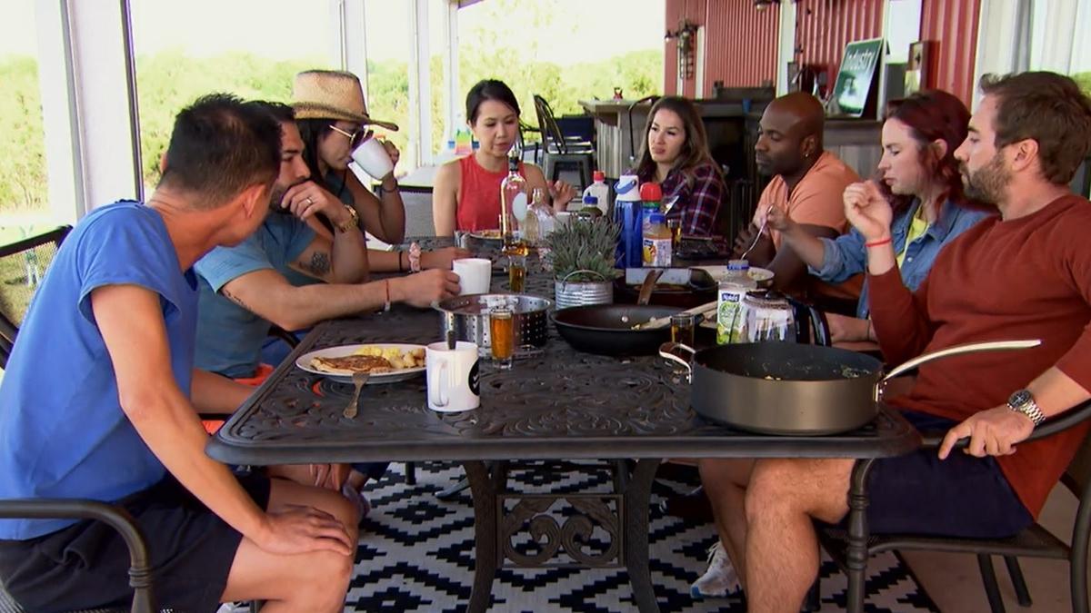 MAFS Season 13 couples gather around a table.