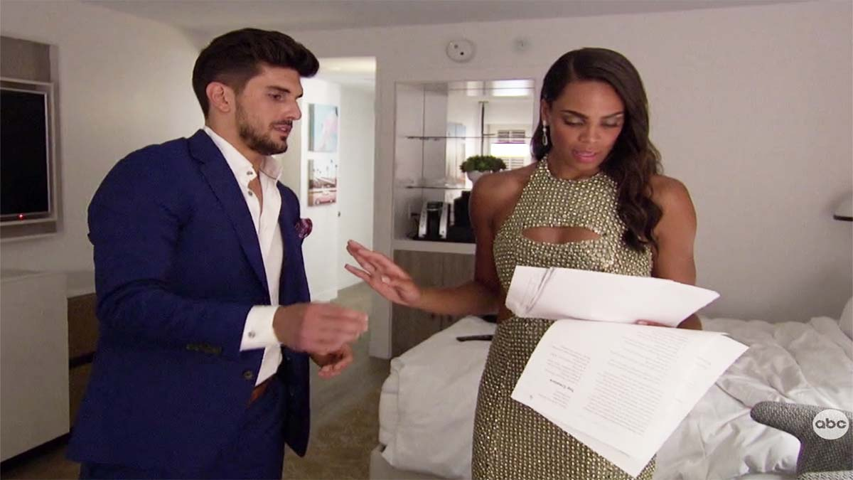 Michelle silences Ryan during the premiere episode as she looks at his ridiculous documents on how to ace The Bachelorette. Pic credit: ABC