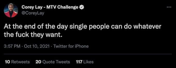 corey lay of the challenge tweets about single people