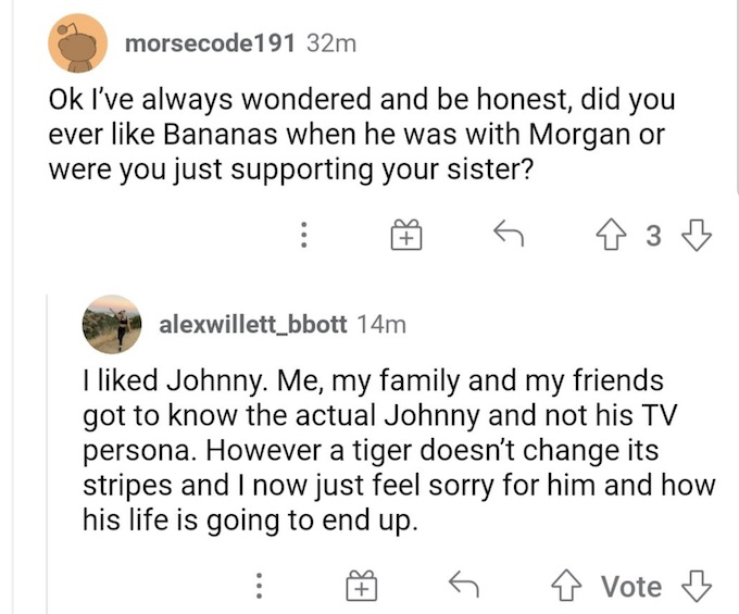 morgan willett sister comments screenshot from challenge fan account