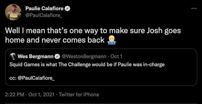 paulie calafiore reacts to wes bergmann squid game tweet