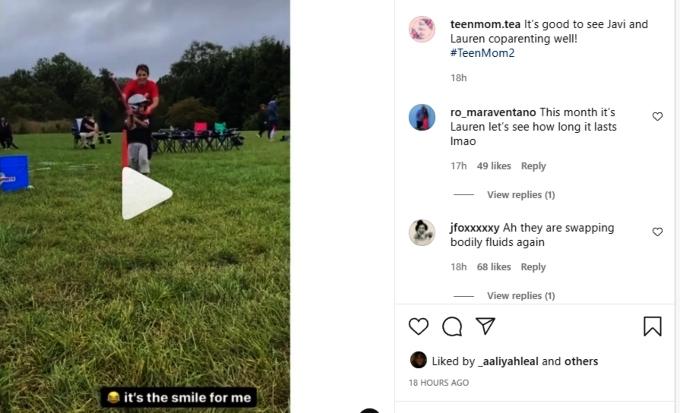 teen mom 2 fans commented on lauren and javi together on instagram