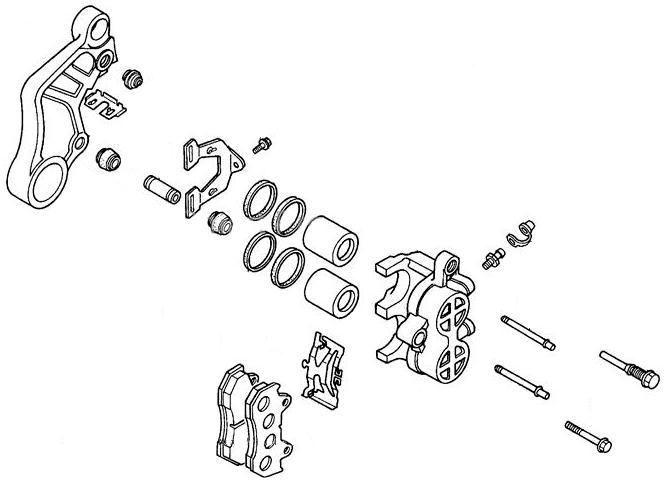 Front Brake Caliper Assembly for Honda Helix CN250 (1986