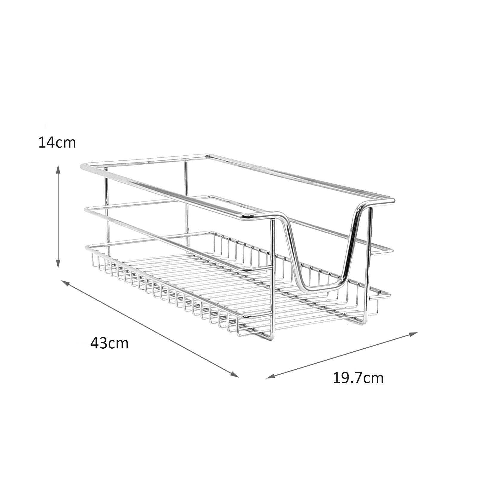 3 Kitchen Wire Baskets Pull Out Storage Drawer Slide Out
