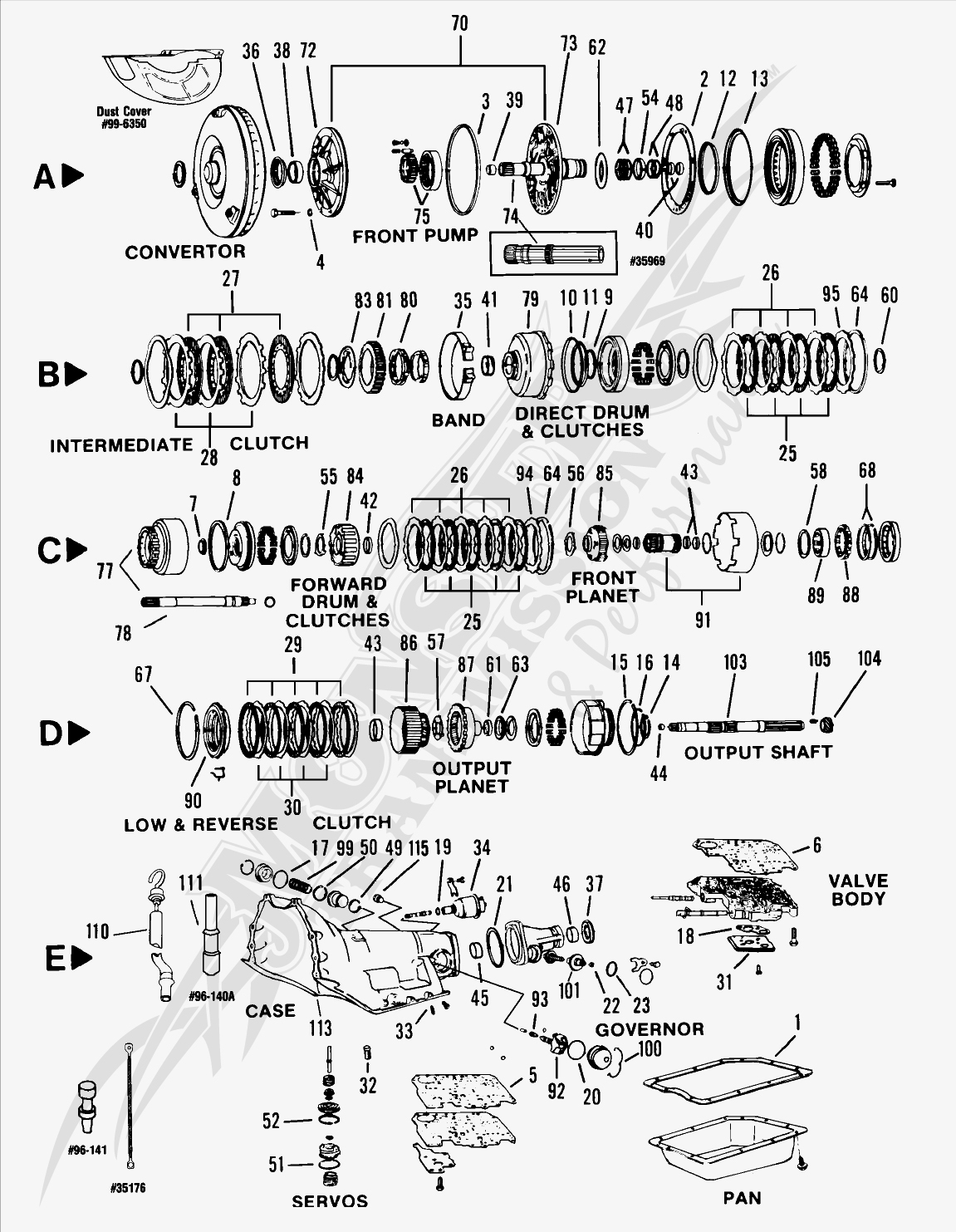 hight resolution of turbo 350c th350c automatic transmission parts and diagram rh monstertransmission com 2005 chevrolet uplander parts diagrams