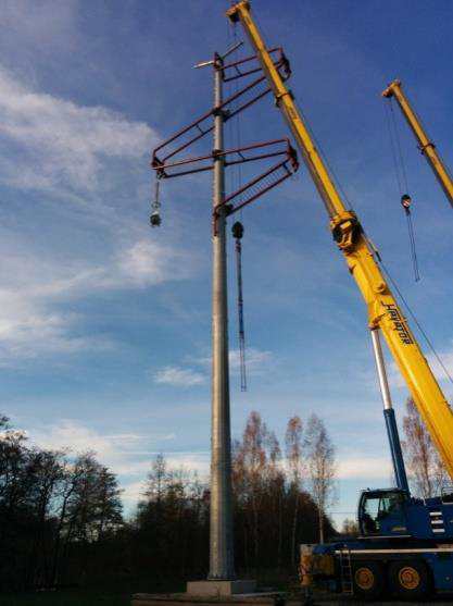 Poles and pylons for power lines