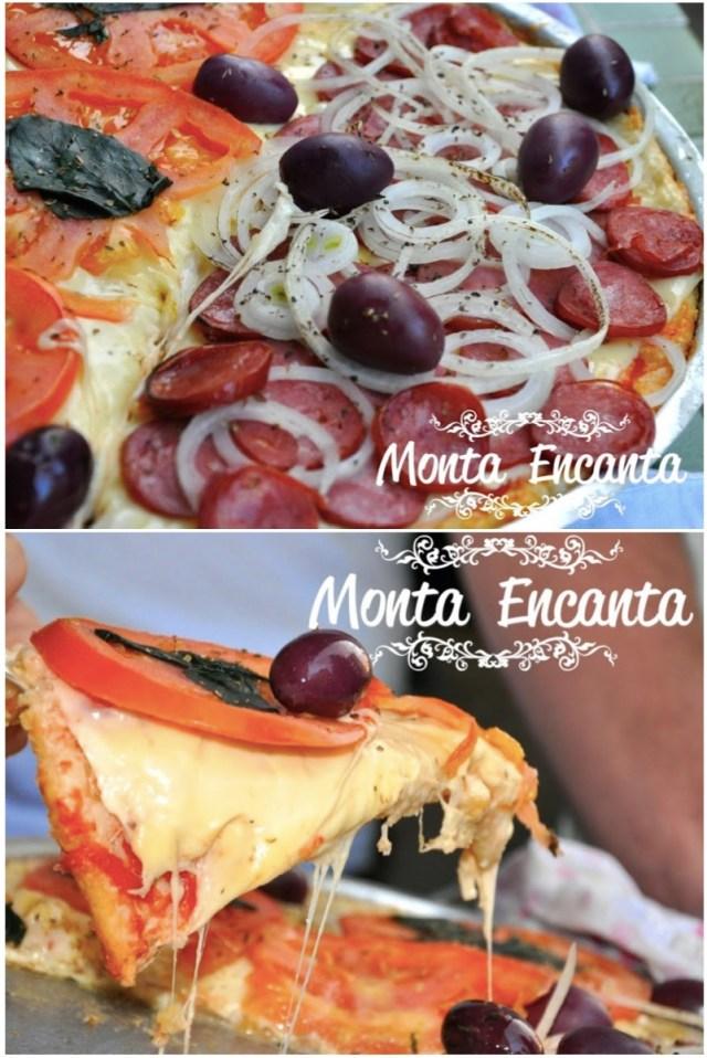 Pizza com massa de pão de queijo