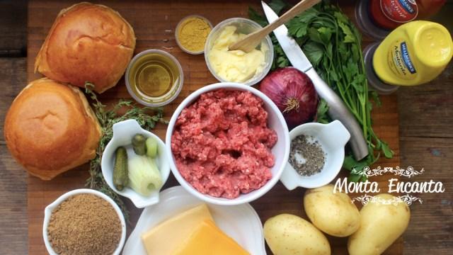 Burguer Juicy Lucy com Batatas e Molho Barbecue