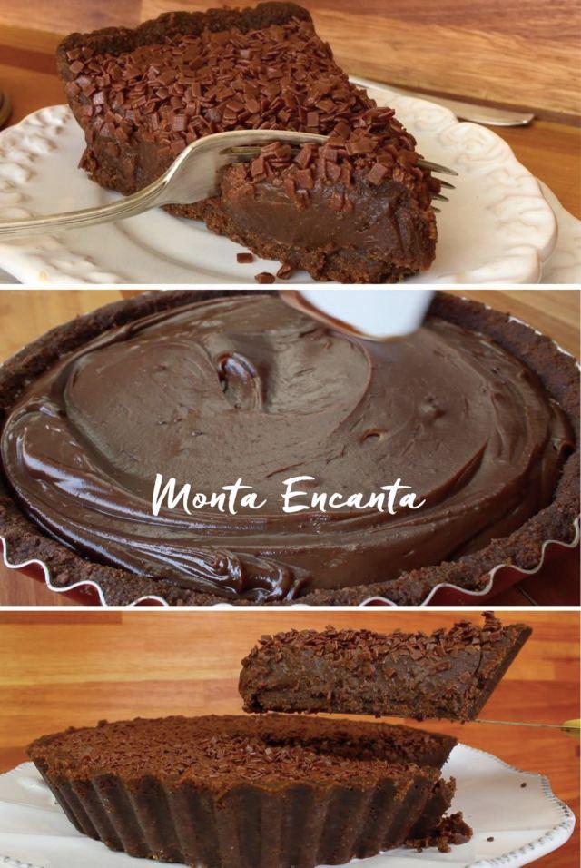 Torta de Brigadeiro Gourmet e massa amanteigada