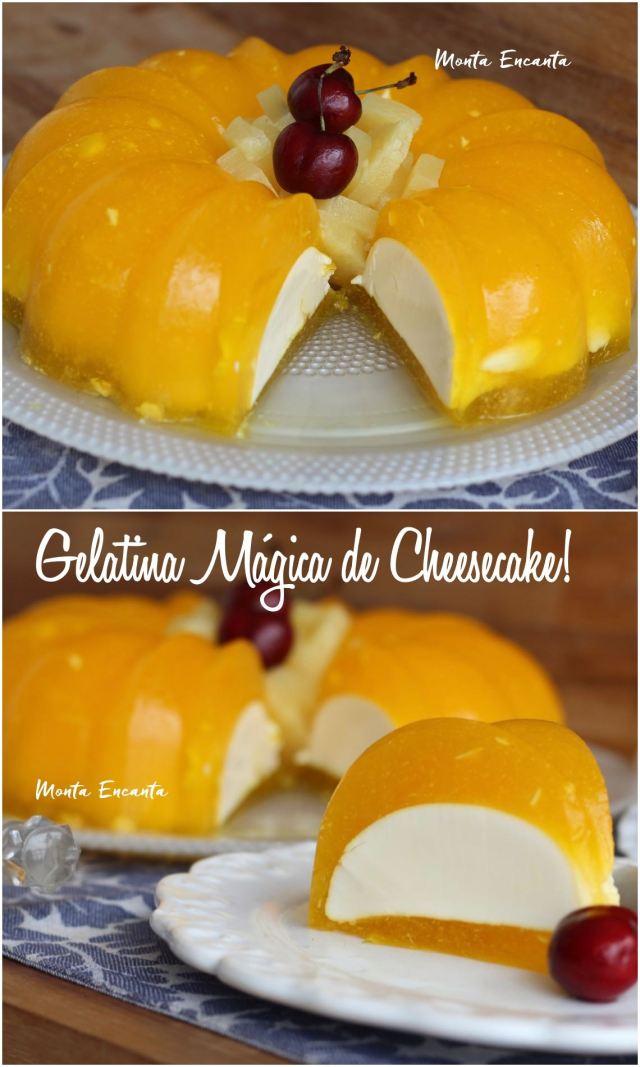 gelatina mágica de cheesecake sabor abacaxi