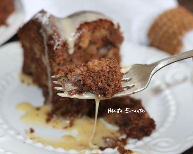 bolo de maça e chocolate sem gluten