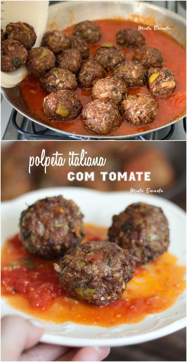 polpeta italiana sem gluten e com molho de tomate