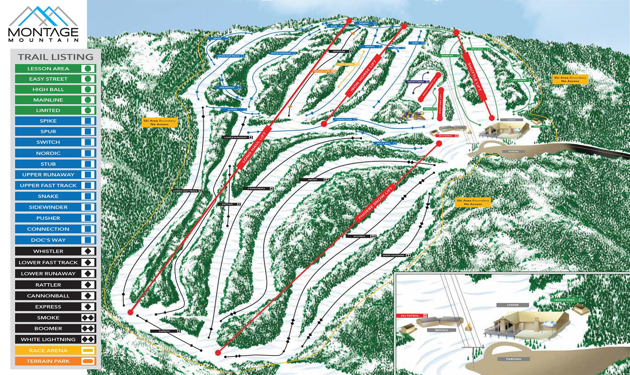 Skiing in the Poconos Trail Status Montage Mountain Snow Tubing