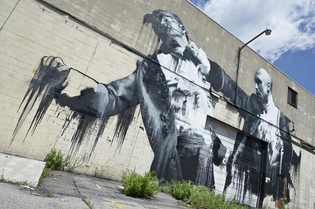 Connor Harrington finished mural at 595 Hollenbeck St.
