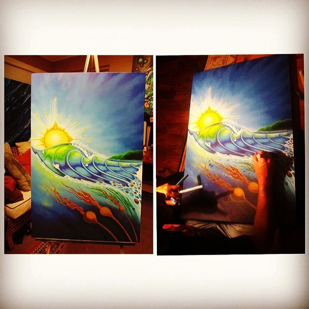 Nelscot Reef Painting by Drew Brophy in Progress with Montana Cans Paints