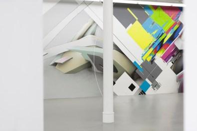 Mirko Reisser (DAIM), Markus Genesius (Wow123) | ''Dialog'' | Spraypaint and facade paint on wall | 457 x 1500 cm / 179.92 x 590.55 inch | Exhibitionview: ''DIALOG: Markus Genesius (Wow123) & Mirko Reisser (DAIM) - Long Distance'' | Städtische Galerie Bremen / Germany | November 05, 2017 - January 07, 2018 | Curator: Ingmar Lähnemann | © Markus Genesius, Mirko Reisser | Photo: MRpro | Courtesy: Städtische Galerie Bremen