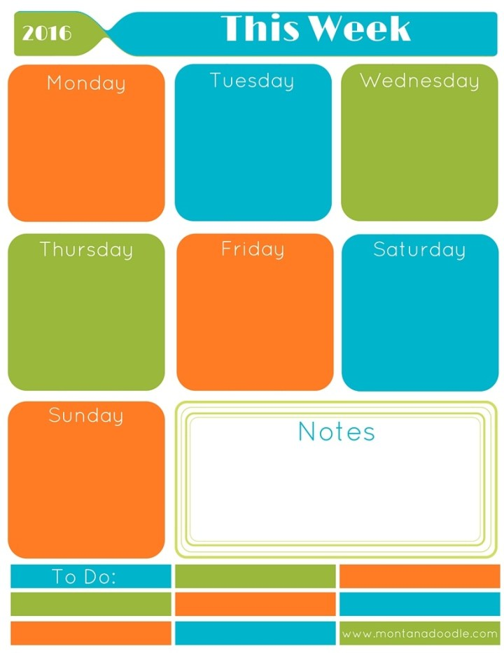 Start your year organized with the bright colors weekly planner from Montana Doodle!
