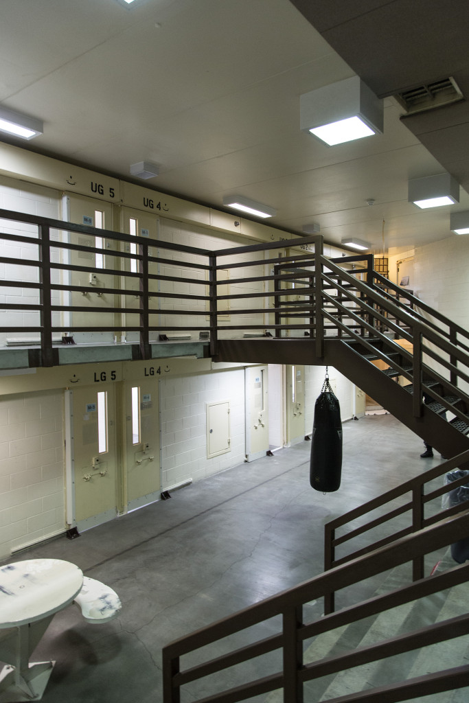"""For good behavior, certain prisoners are allowed out of their cells in Locked Housing Unit 2's """"day room."""" According to Montana State Prison policy, ad seg inmates are allowed out of their cells for three showers and five hours in the rec yard per week. - Wes Overvold photo."""