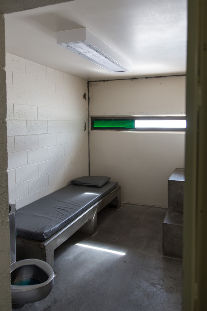 """A vacant administrative segregation, or """"ad seg"""" cell in the Montana State Prison's Locked Housing Unit 2, used to isolate dangerous or unruly prisoners. - Wes Overvold photo."""