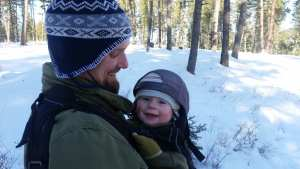 winter hiking with baby
