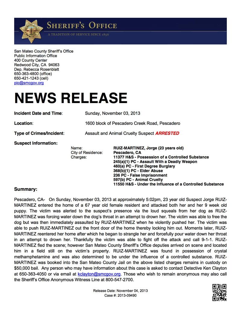 11-04-2013 Pescadero Arrest