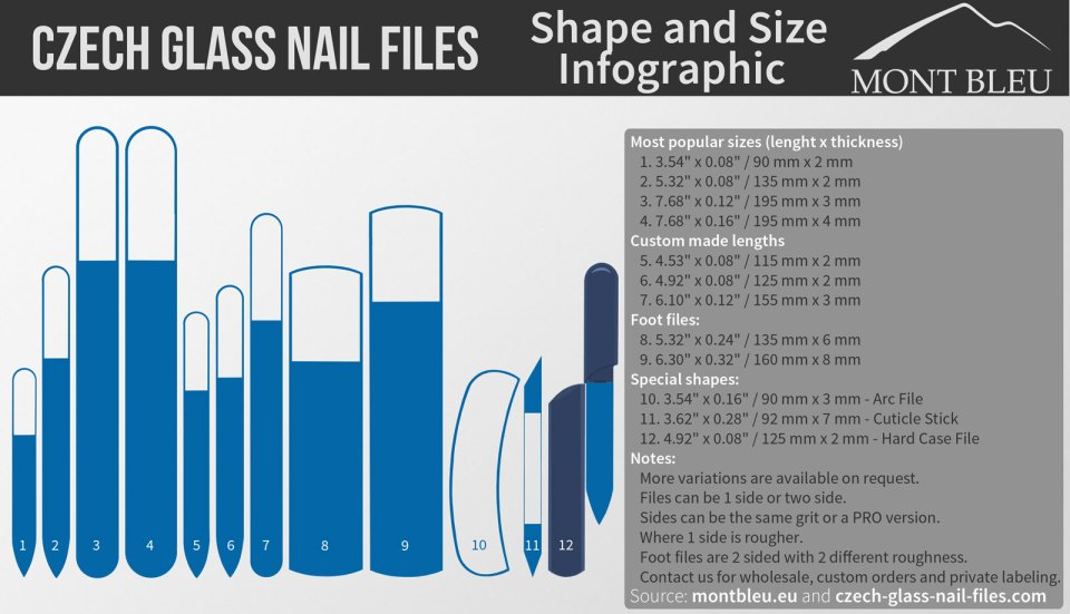 Czech glass nail files sizes and shapes