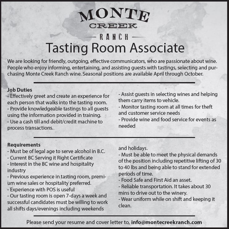 Monte Creek Ranch Winery is Hiring  Monte Creek Ranch Winery
