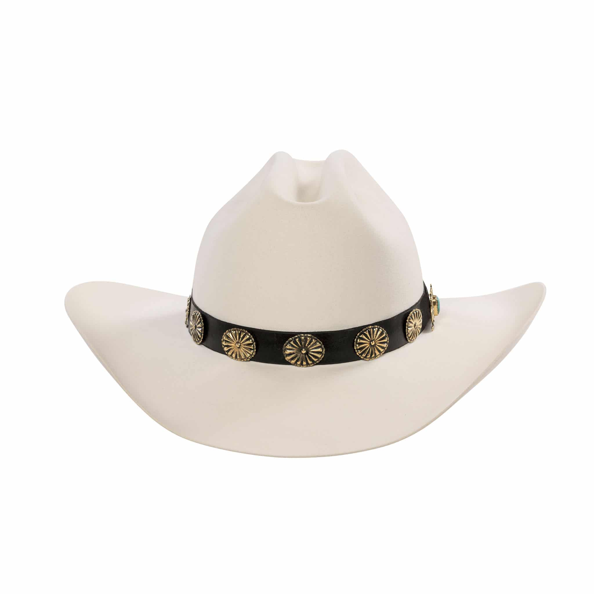 Low Whistle White Fur Felt Hand-Made Hat with 18 karat Gold concho hat band.