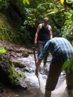 Hayden kicks into the seine as Dave holds it
