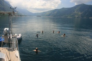 Swimming in Kotor Bay on beautiful Yacht Monty B
