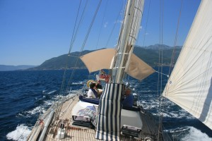 Sailing in Tivat Bay on Yacht Monty B