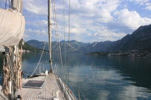 View of Kotor Bay on boat trip Yacht Monty B
