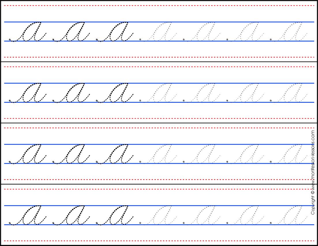 Montessori Lessons Tracin Strips Small Letters A Z