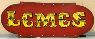 "LCMCS ""steampunk"" logo sign from the annual auction"