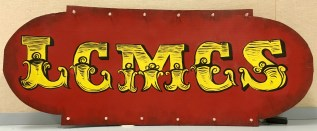 """LCMCS """"steampunk"""" logo sign from the annual auction"""