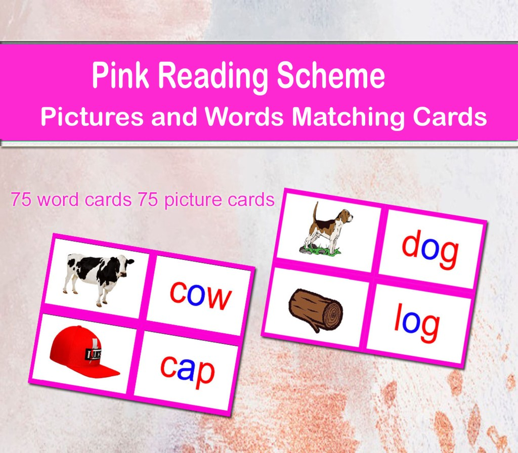 Pink Reading Scheme Pictures and Words Matching Cards