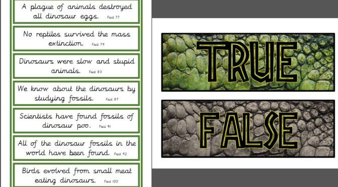 Dinosaur True or False cards