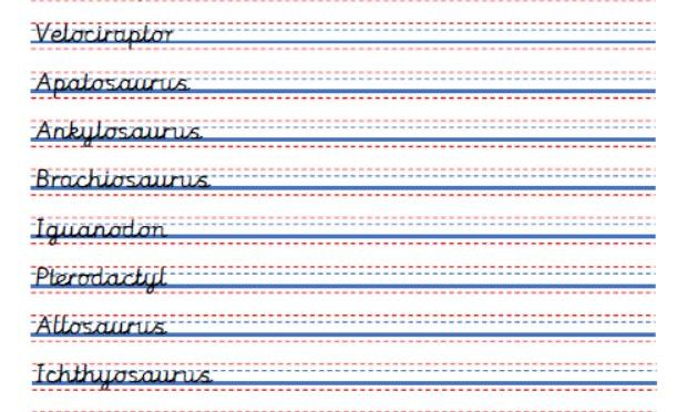 Handwriting practice sheets – dinosaur names