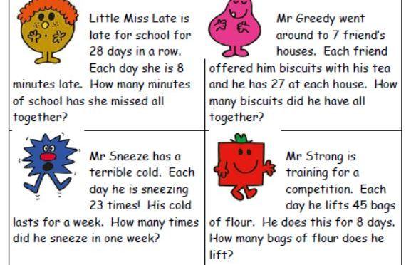 Mr Men timetables word problems