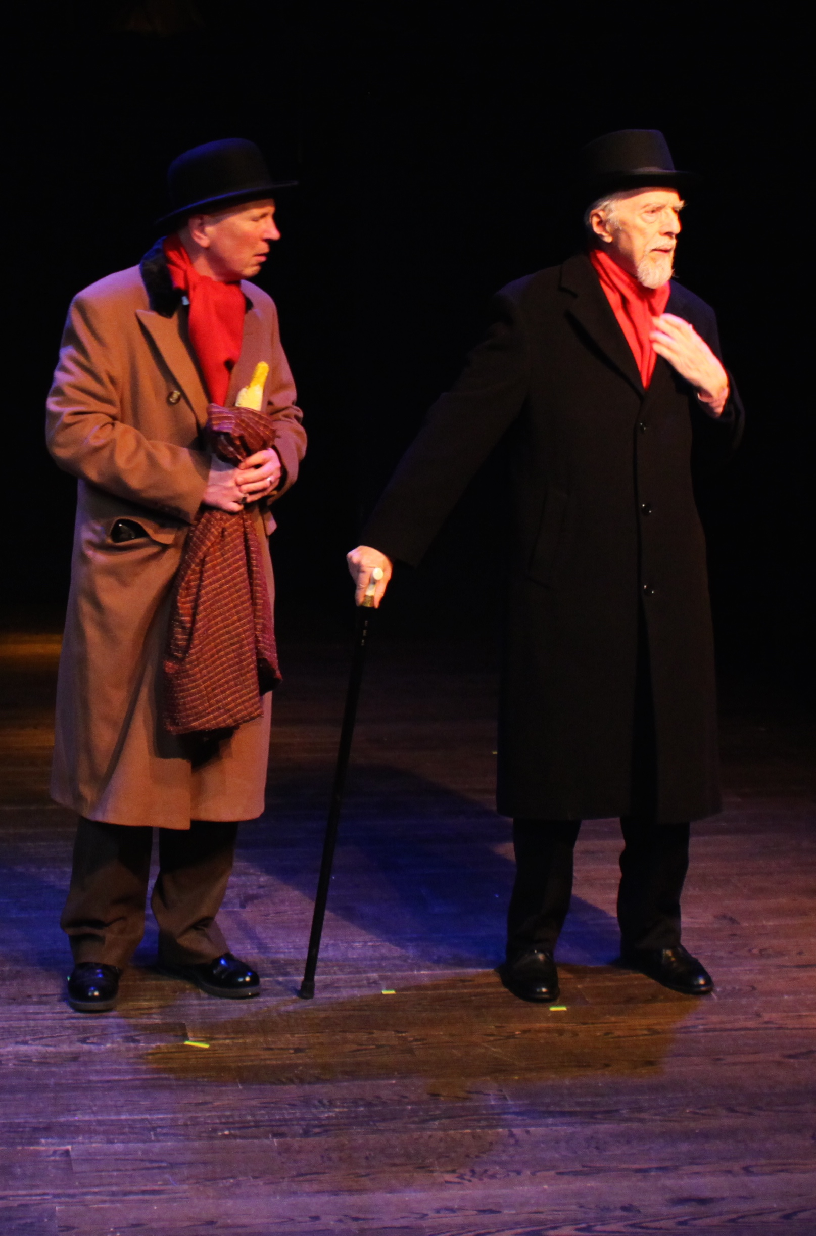 A man in a red scarf - Dr Watson (Paul Noga) and Lord Calvin (Cory Atwood)