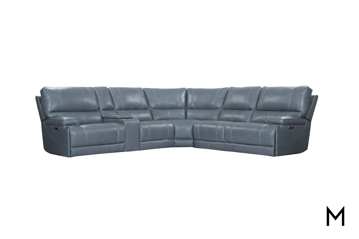 m collection leather 6 piece power reclining sectional sofa with console
