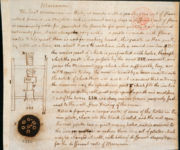 Jefferson's drawing of a macaroni machine and notes. Library of Congress