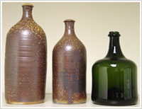 Reproduction of clay and glass bottles from fragments found at Monticello