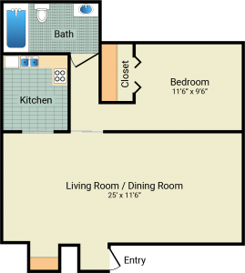 1 Bed / 1 Bath / 540 sq ft / Rent: $525