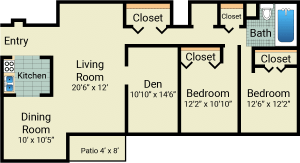 2 bed, 1.5 bath, 1062 sqft