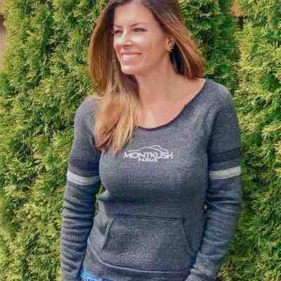 Woman wearing MONTKUSH Farms Eco-Fleece™ Women's Maniac Sport Sweatshirt