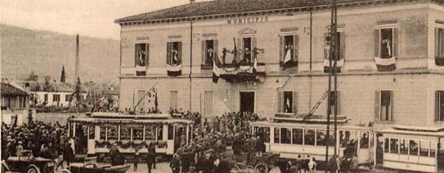 Cartolina commemorativa dell'inaugurazione delservizio di tram a Montorio veronese