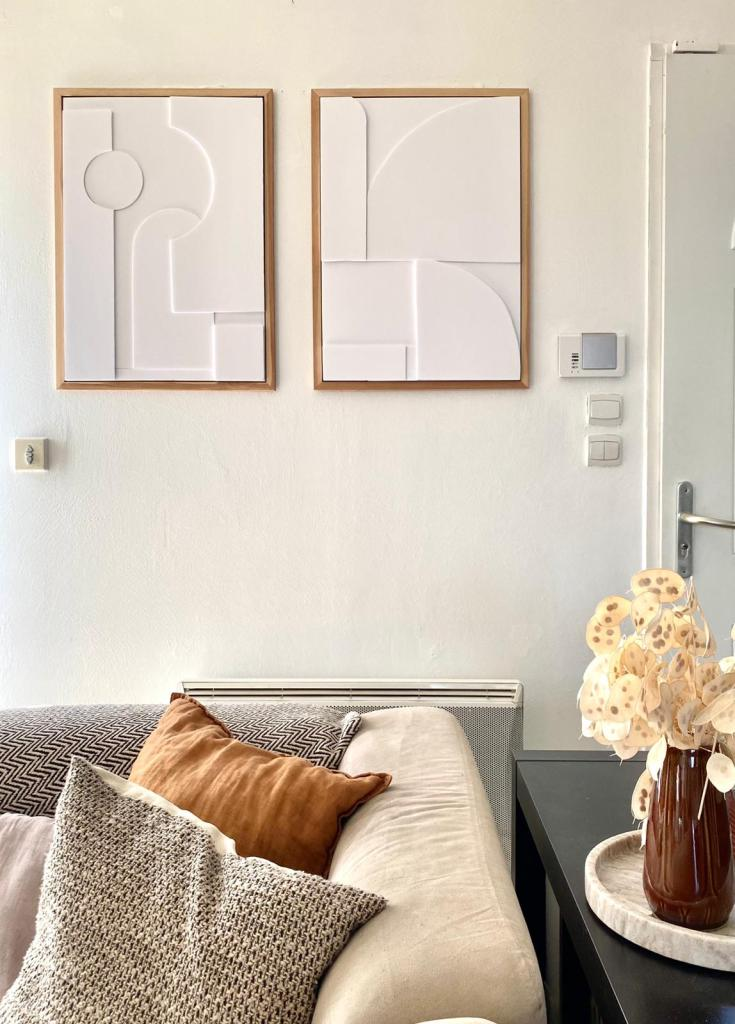 tableau minimaliste relief géométrique