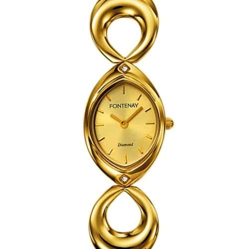 Fontenay – NT217DFS – Montre Femme Doré – Quartz Analogique – 2 Diamants 0.019 – Fond Doré Bracelet Métal Doré